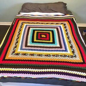 Vintage Crochet Rainbow Queen Blanket
